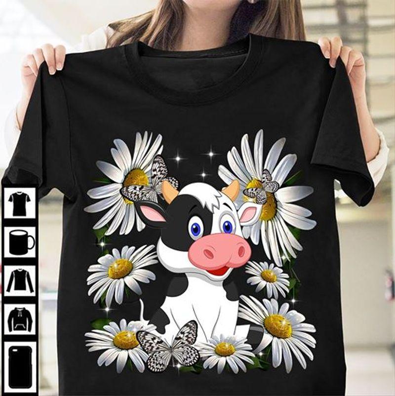 Cow Daisy And Butterflies T Shirt Black