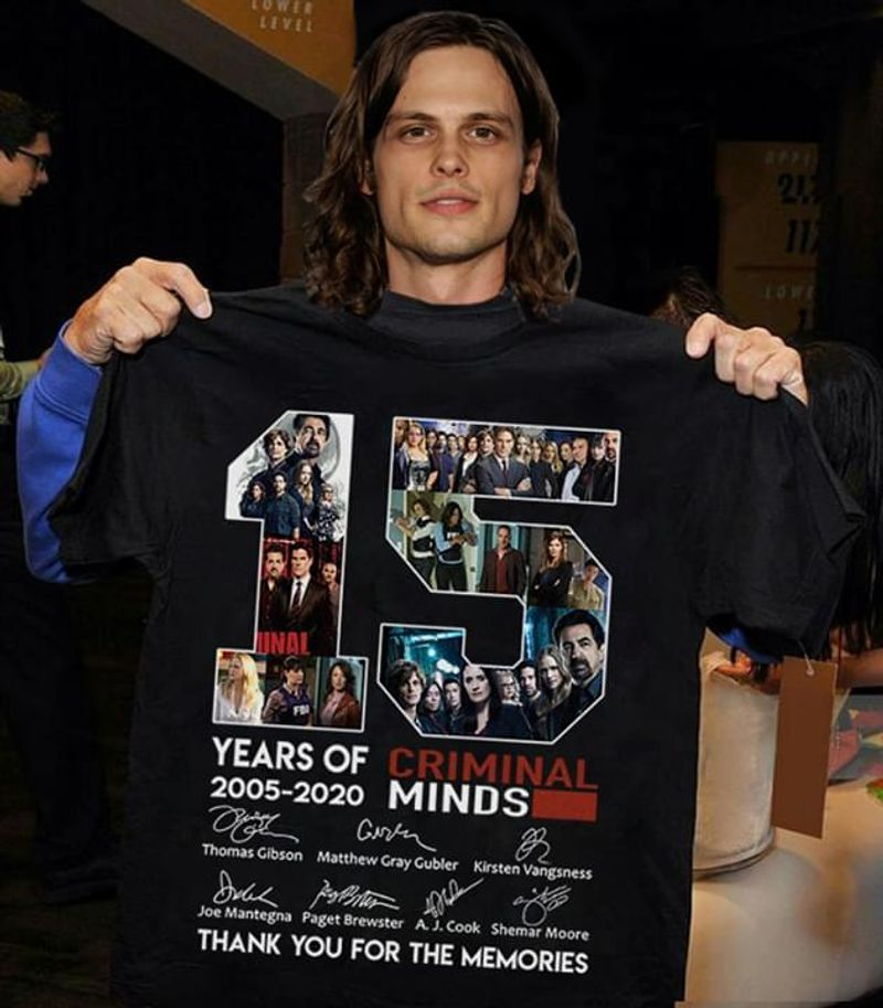 Criminal Minds 15 Years Anniversary Signatures Thank You For The Memories T-Shirt Black