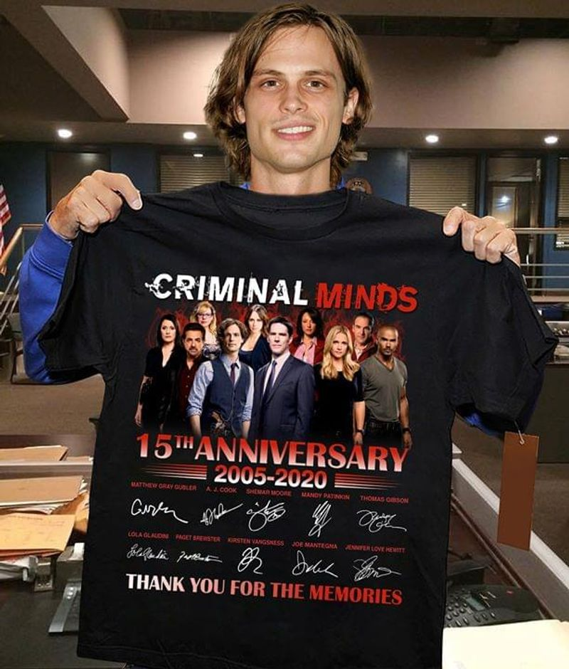 Criminal Minds 15th Anniversary 2005- 2020 Signature Thank You For The Memory Black T Shirt Men/ Woman S-6XL Cotton