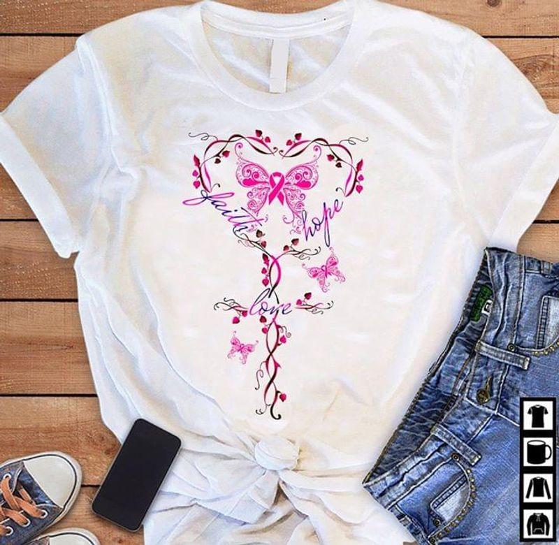 Cure Butterfly Heart Faith Hope Love T Shirt Men/ Woman S-6XL Cotton