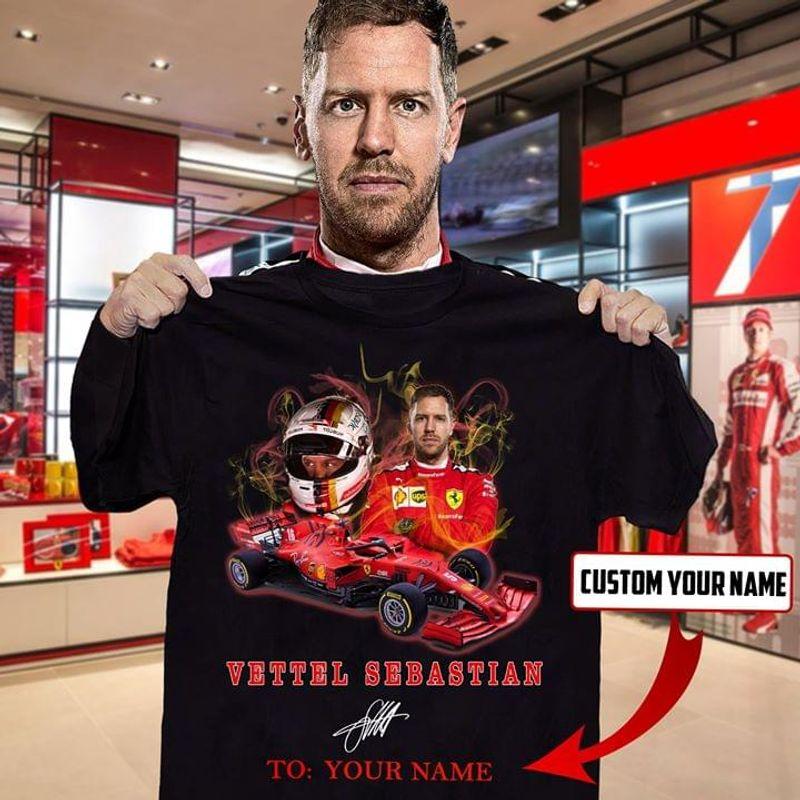 Custom Name Vettel Sebastian F1 Racing Athletes Signature Shirt Black T Shirt Men And Women S-6XL Cotton