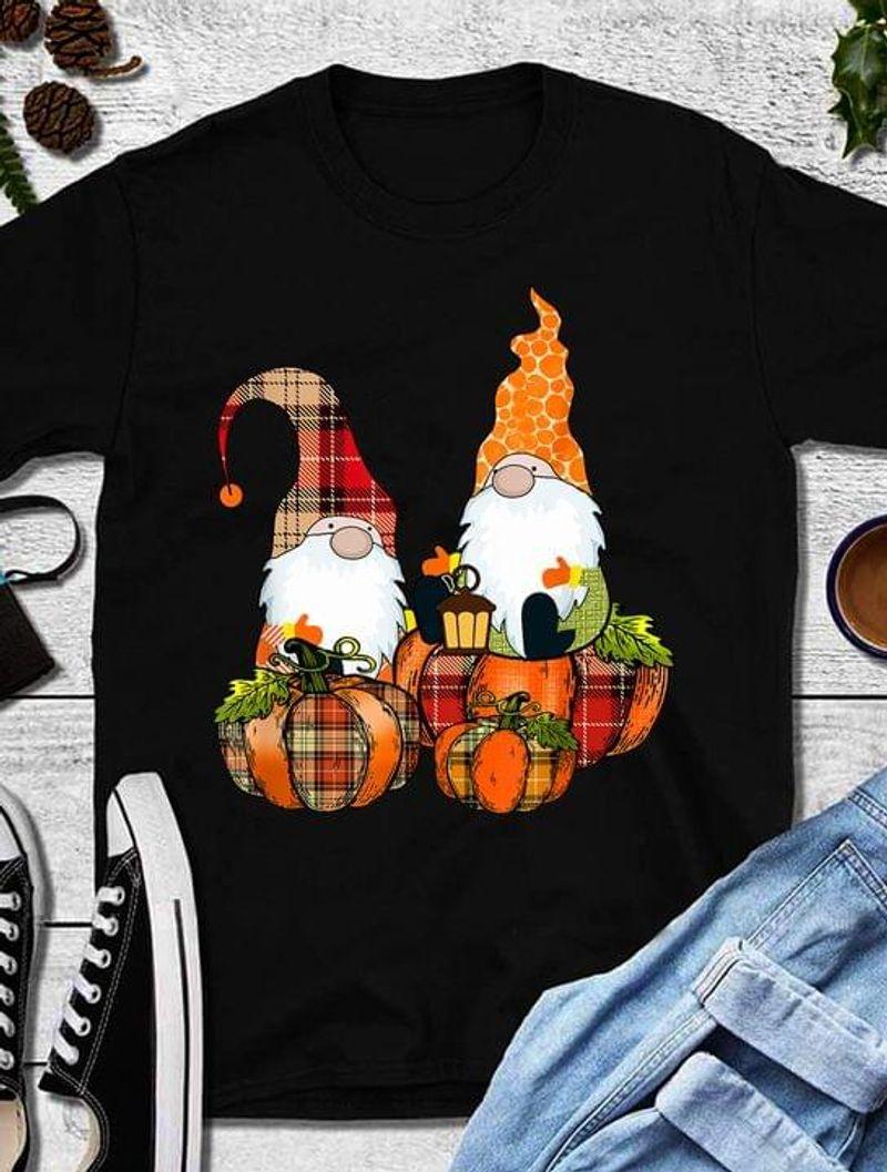 Cute Gnomes Pumpkin Happy Halloween Great Idea Gift Black T Shirt Men And Women S-6XL Cotton