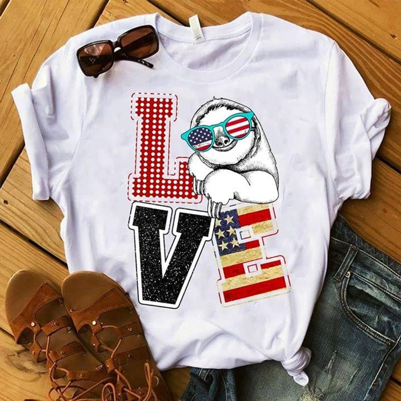 Cute Sloth Love American Flag 4th Of July Independence Day T Shirt Men/ Woman S-6XL Cotton