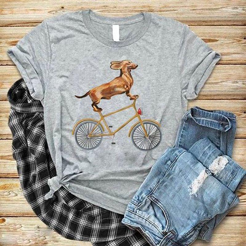 Dachshund Riding Bike T Shirt Grey A3