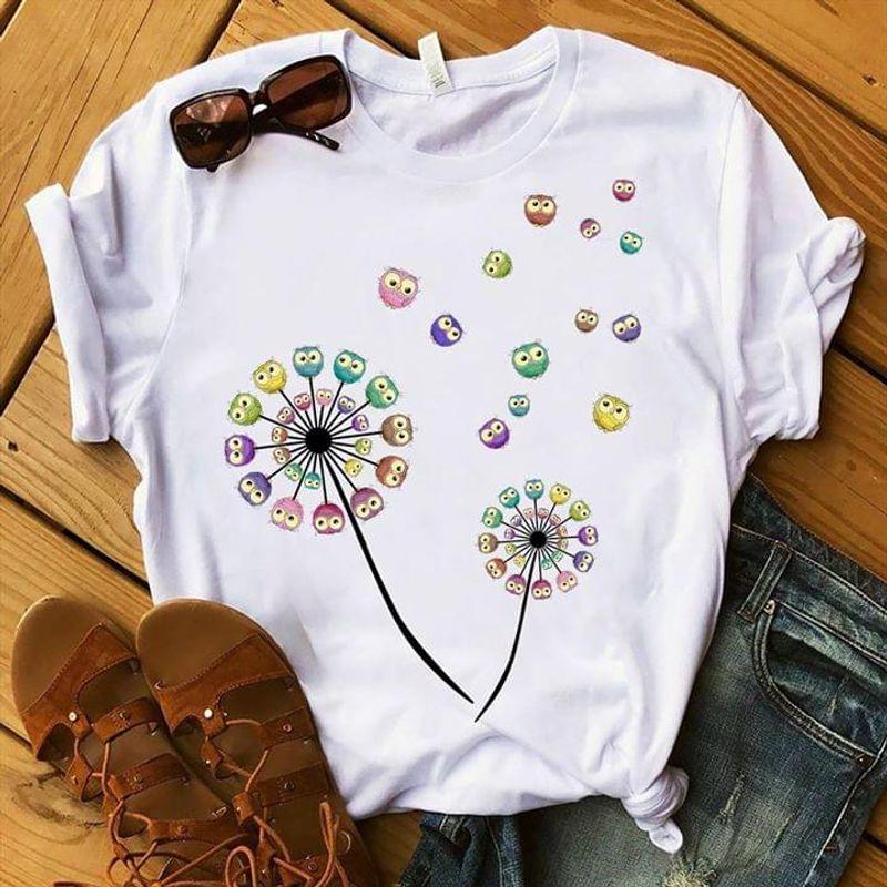 Dandelion Lovely Color Owls T Shirt Wild Animal Love Gift For Owl Lovers White T Shirt Men And Women S-6XL Cotton