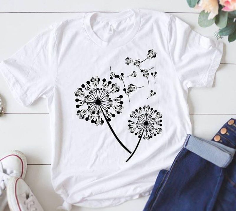 Dandelion Mickey And Minnie Cute Design For Fans Girls Cartoon Lover White T Shirt Men And Women S-6XL Cotton
