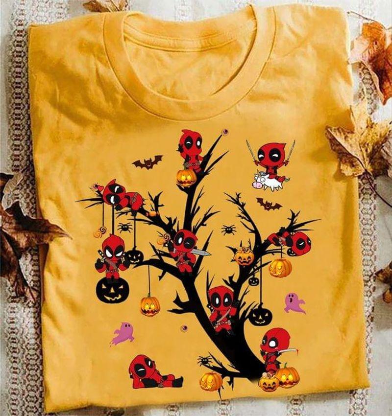 Deadpool Halloween Jack-o'-latern Tree Halloween Gift Idea Gold T Shirt Men And Women S-6XL Cotton