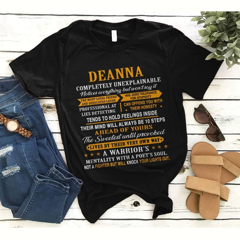 Deanna Completely Unexplainable Mentality With A Poet Soul Not A Fighter Will Knock Ypur Lights Out   T-shirt Black B1