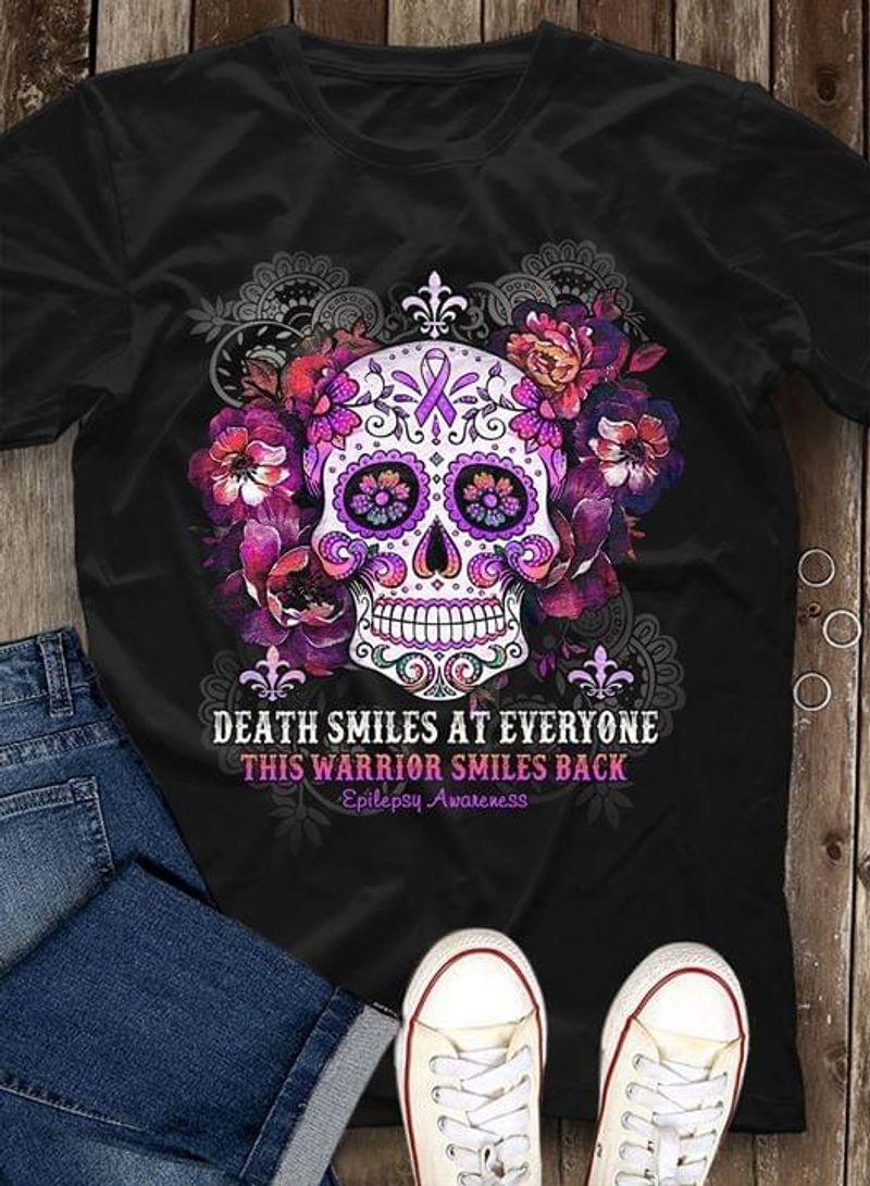 Death Smiles At Everyone This Warrior Smiles Back Epilepsy Awareness Black T Shirt Men/ Woman S-6XL Cotton