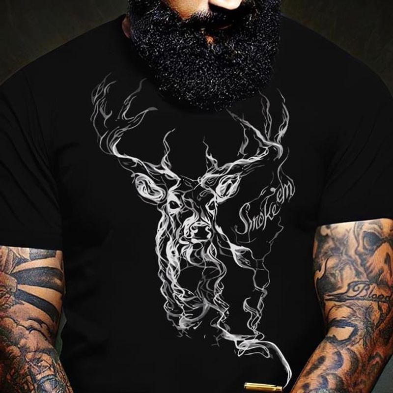 Deer Hunting Club Smoke 'Em Deer Hunting Love Deer Hunter Black T Shirt Men And Women S-6XL Cotton