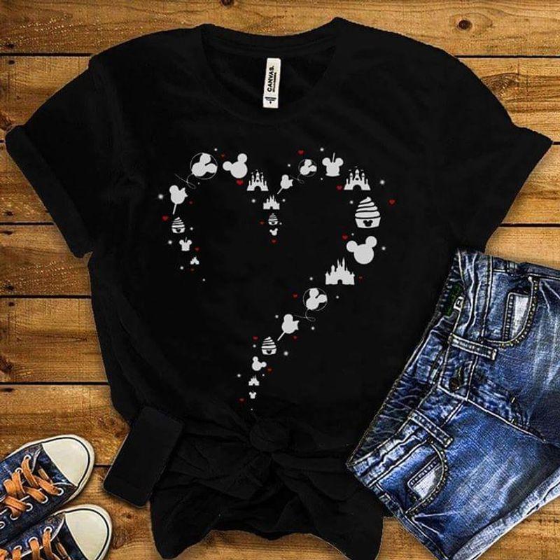 Disney Land Mickey Mouse Heart Black T Shirt Men/ Woman S-6XL Cotton