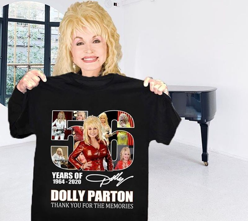 Dolly Parton Fans 56 Years Thank You For The Memories Signature Black T Shirt Men/ Woman S-6XL Cotton