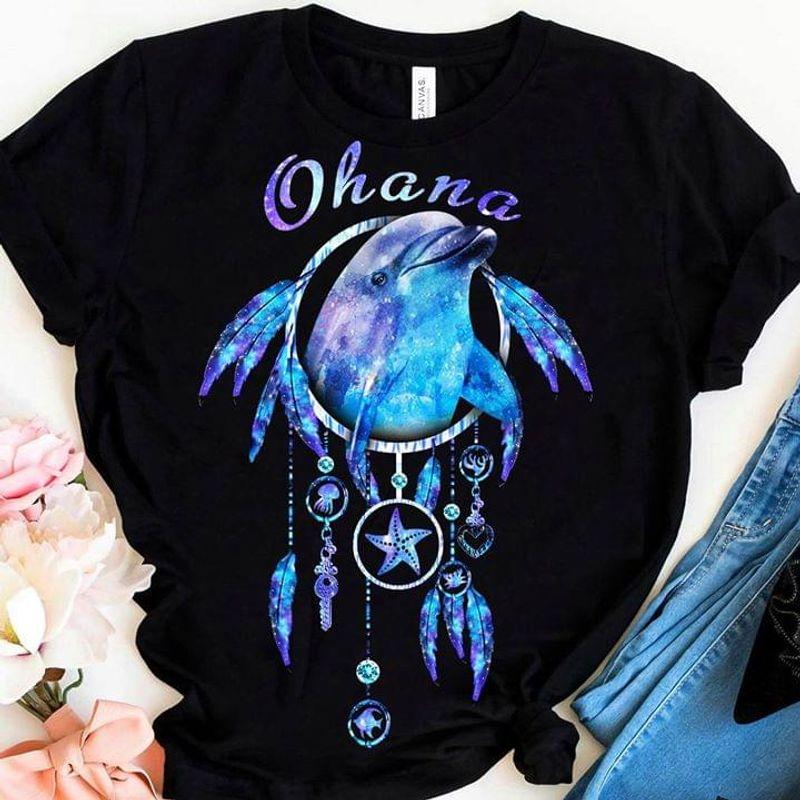 Dolphin Dream Catcher Ohana T-Shirt Ohana Lilo And Stitch Shirt Black T Shirt Men And Women S-6XL Cotton