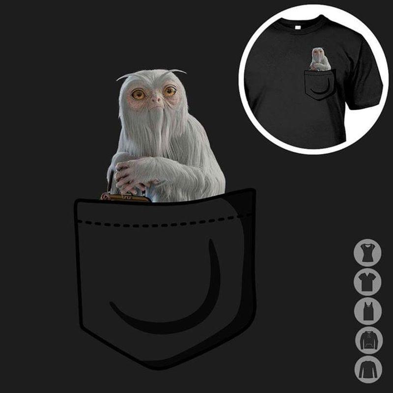 Dougal The Demiguise Harry Potter Pocket T-shirt Harry Potter Fans Gift Black T Shirt Unisex Cotton Size S-6XL