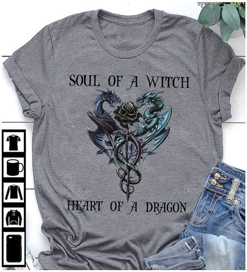 Dragon Rose Soul Of A Witch Heart Of A Dragon T-shirt Halloween Gift Dark Heather T Shirt Men And Women S-6XL Cotton