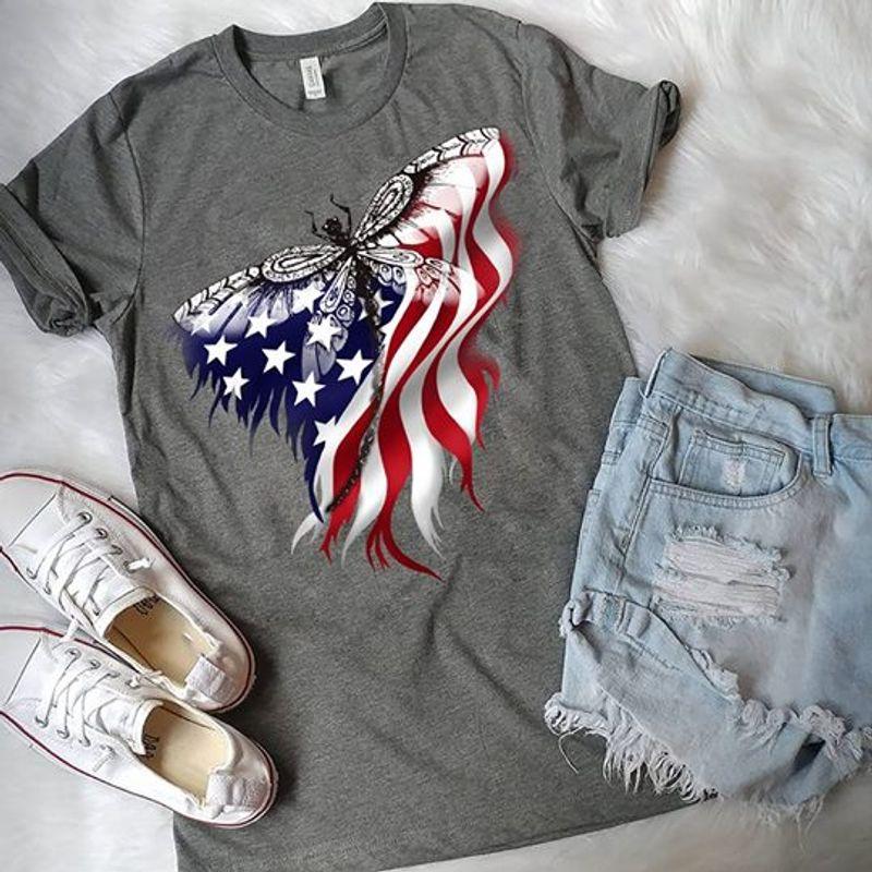 Dragonfly American Flag T Shirt Grey A3
