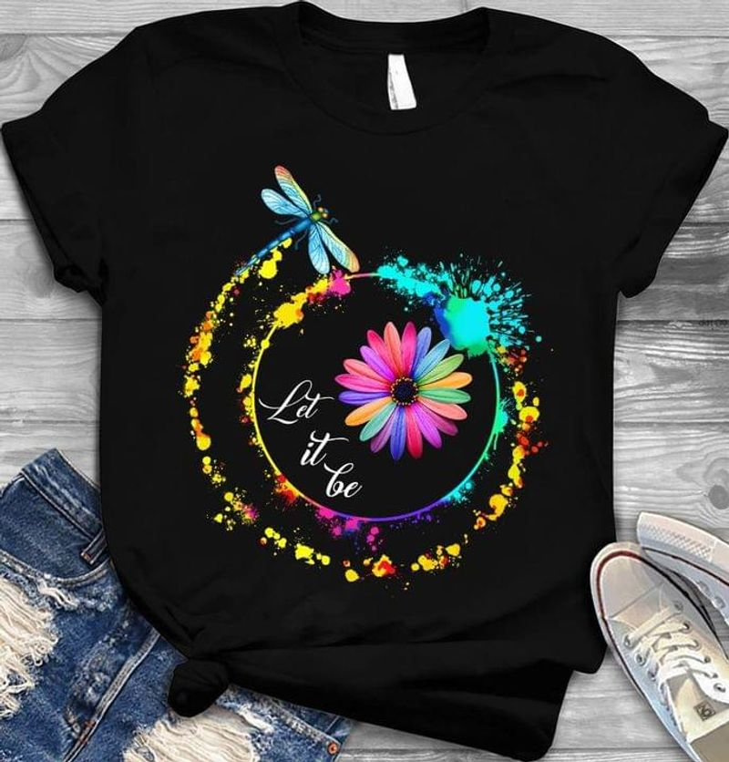Dragonfly Daisy Flower Watercolor Let It Be Great Idea Gift Black T Shirt Men And Women S-6XL Cotton
