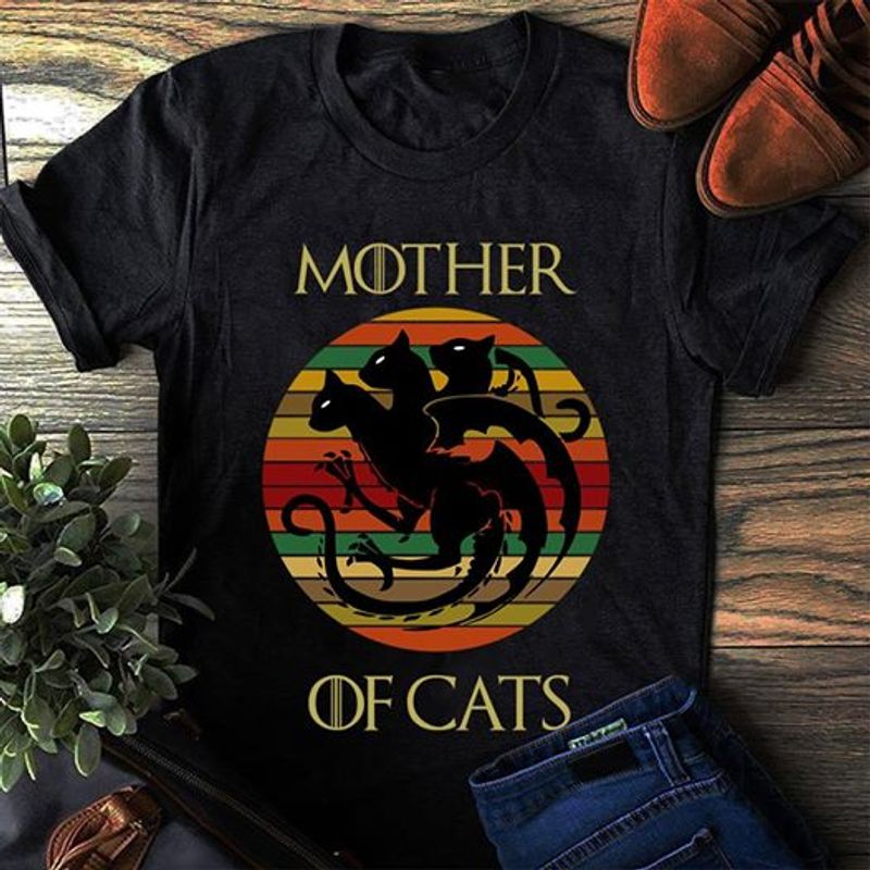 Dragons Mother Of Cats  T-shirt Black B1