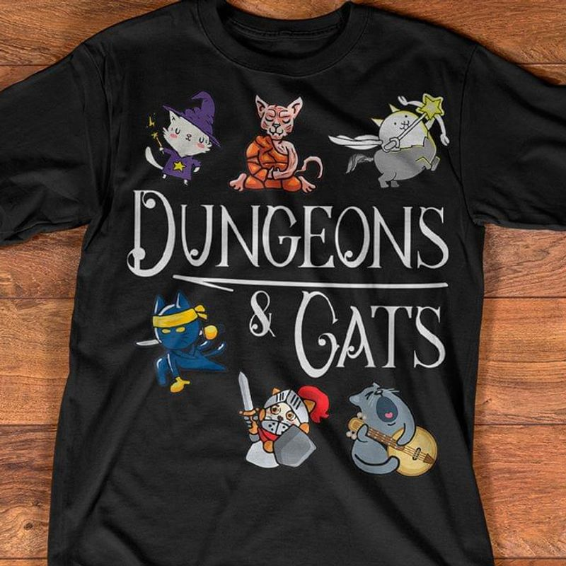 Dungeons & Cats A Special Gift For Cat Lovers Black T Shirt Men/ Woman S-6XL Cotton