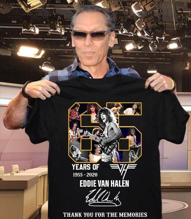 Eddie Van Halen 65 Years Of Thank You For The Memories Black T Shirt Men And Women S-6XL Cotton