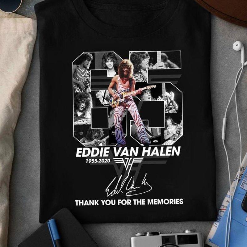 Eddie Van Halen 65 Years Signature Thank Memories Eddie Van Halen Lover Gift Black T Shirt Men And Women S-6XL Cotton