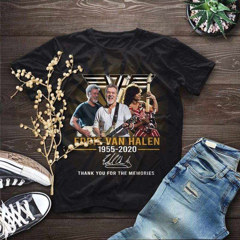Eddie Van Halen Musician Signature Thank Memories Eddie Van Hallen Lover Gift Black T Shirt Men And Women S-6XL Cotton