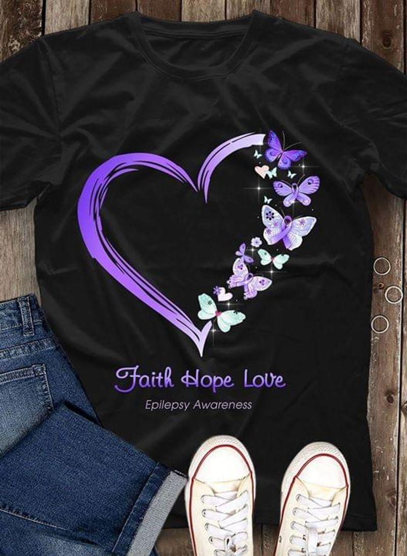 Epilepsy Awareness Faith Hope Love Heart Butterflies Epilepsy Warrior Black T Shirt Men/ Woman S-6XL Cotton