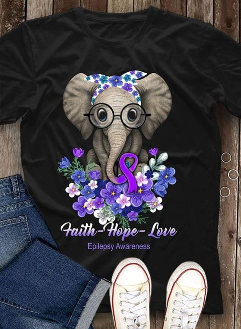 Epilepsy Warrior Faith Hope Love Elephant Baby Flowers Epilepsy Awareness Black T Shirt Men/ Woman S-6XL Cotton