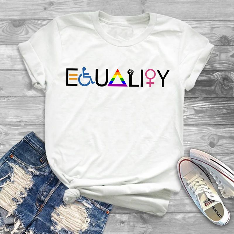 Equality For Disability Lgbt Women Tee Shirt White