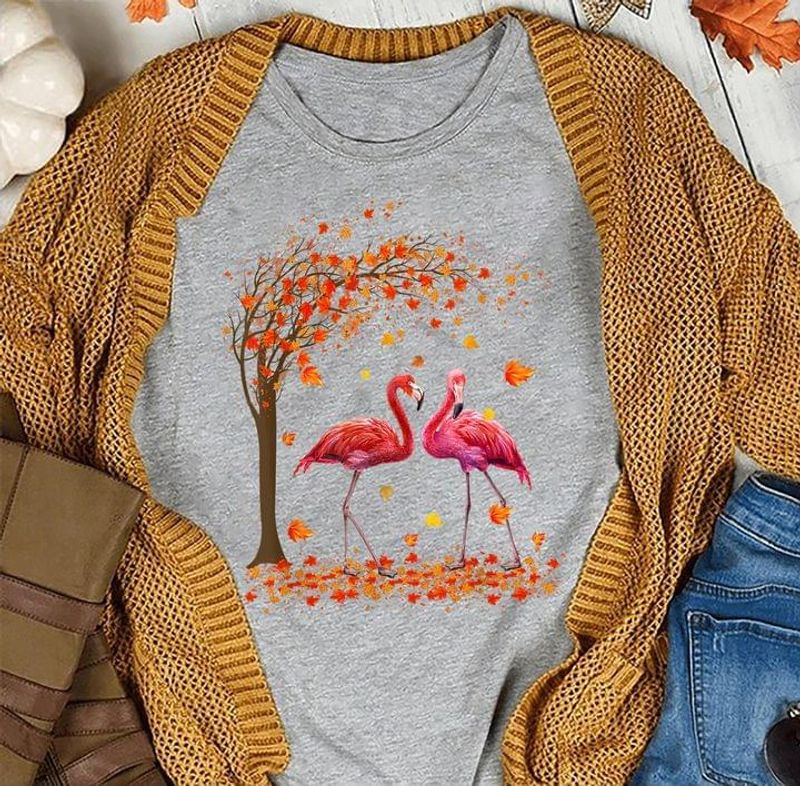Fall Flamingo Autumn Flamingo Lover Gift Special Gift For Holidays Sport Grey T Shirt Men And Women S-6XL Cotton