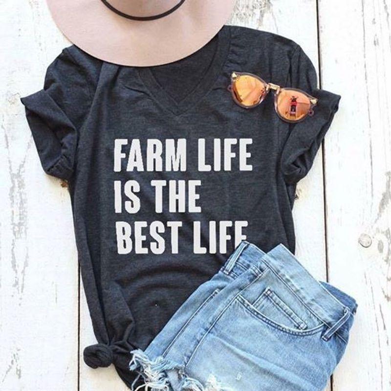 Farm Life Is The Best Life T Shirt Black C2