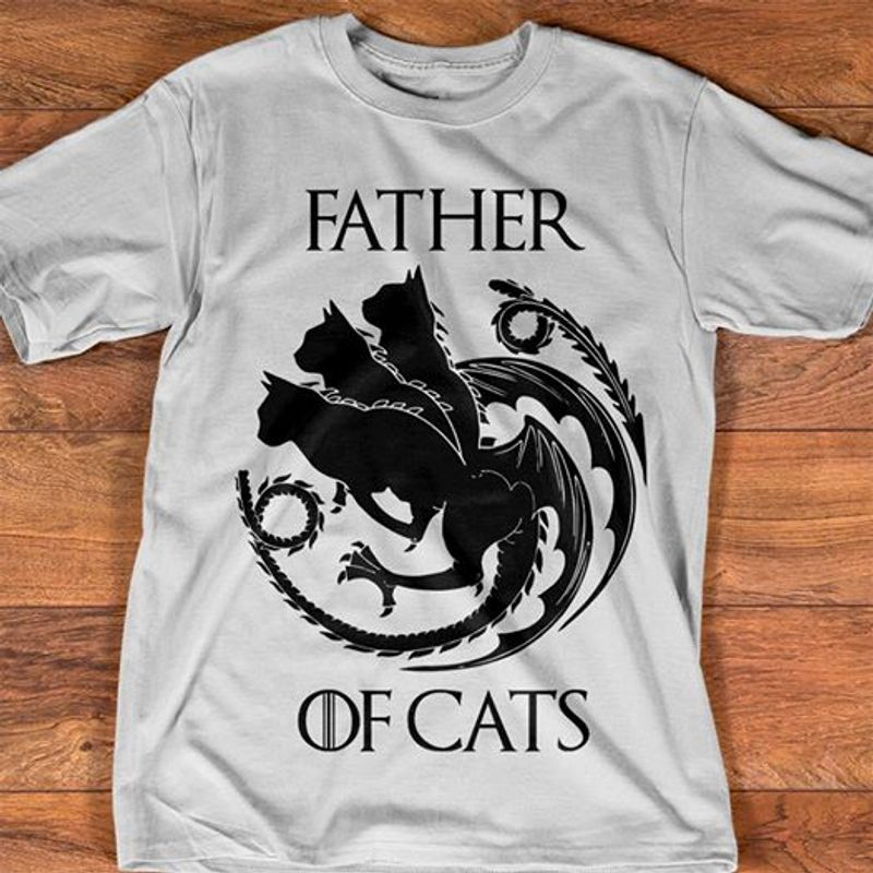 Father Of Cats Dragons T Shirt White B1