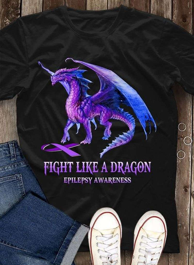 Fight Like A Dragon Epilepsy Awareness Public Education And Awareness Black T Shirt Men/ Woman S-6XL Cotton