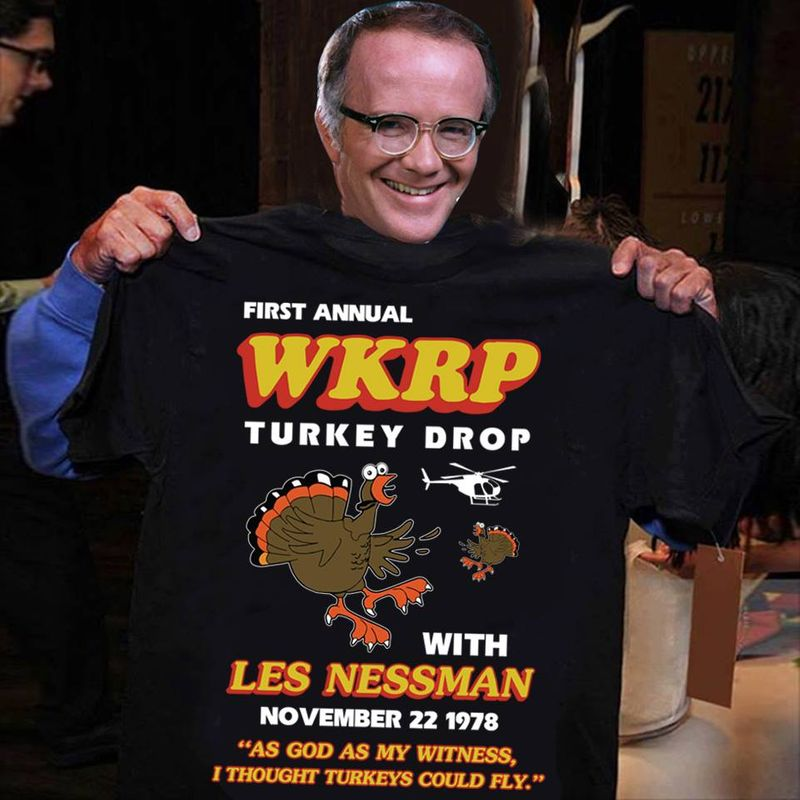 First Annual Wkrp Turkey Drop With Les Nessman Chicken T- Shirt Black A5