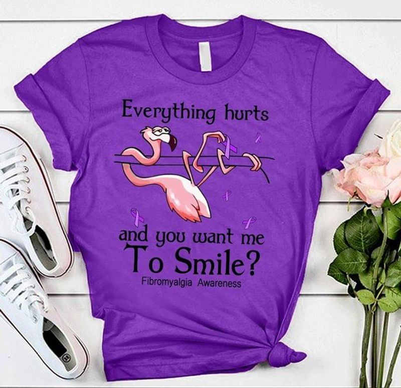 Flamingo Everything Hurts And You Want Me To Smile Pink Ribbon Purple Purple T Shirt Men And Women S-6XL Cotton