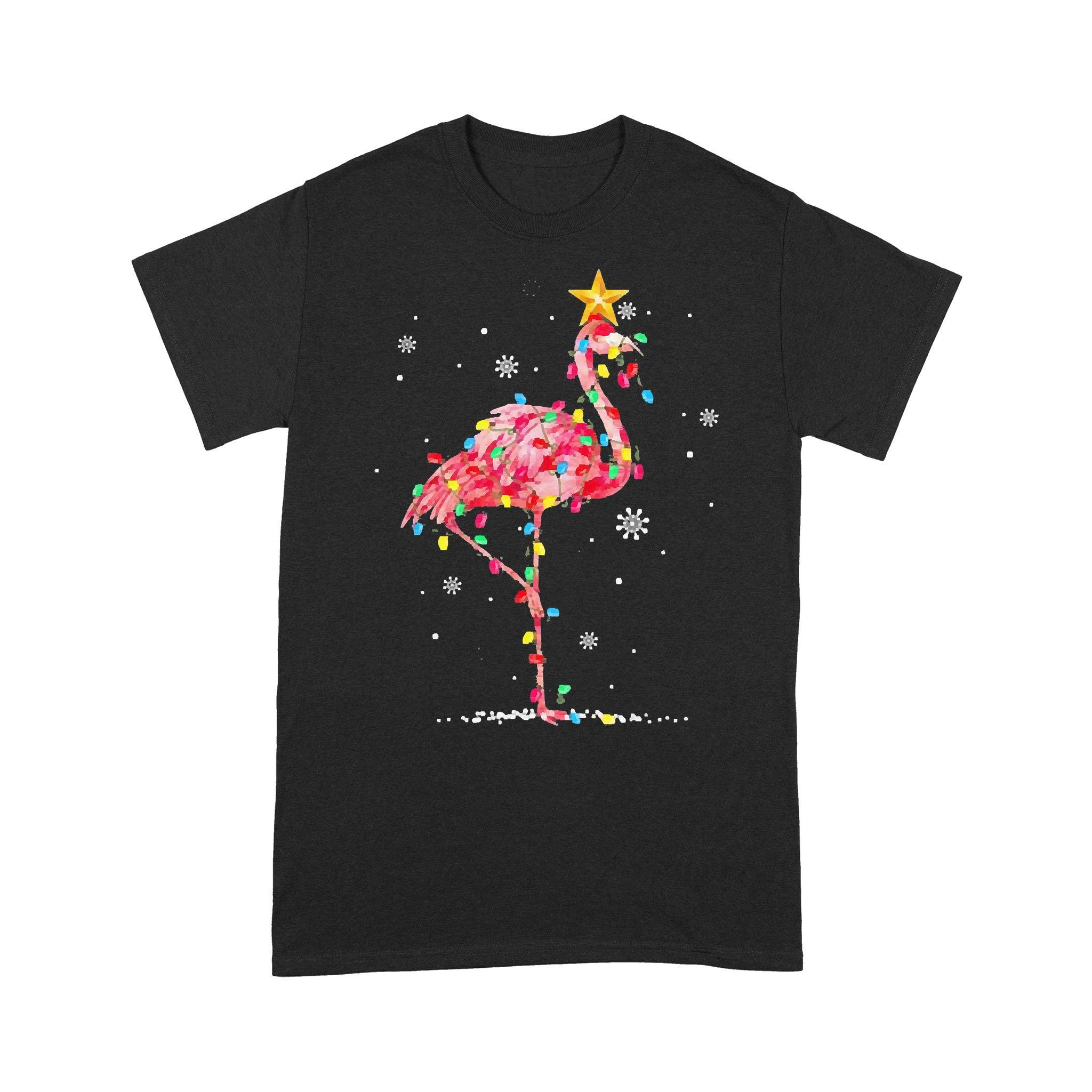 Flamingo Reindeer Hat Santa Christmas Lights T-shirt