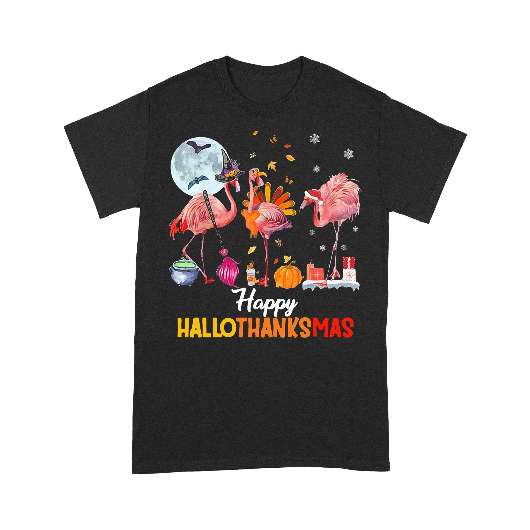 Flamingo Squad Happy Hallothanksmas T-shirt