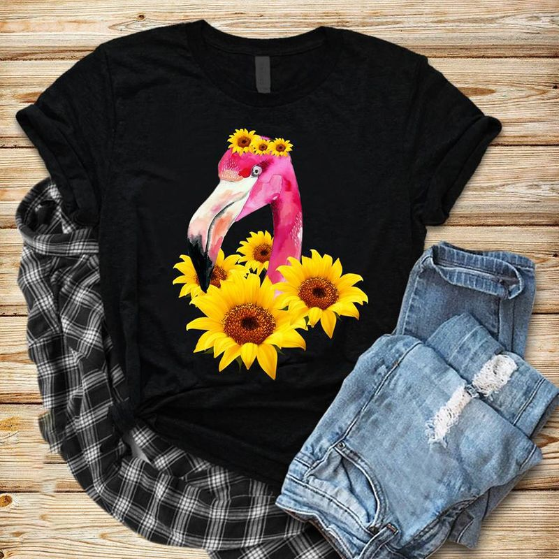 Flamingo Sunflower T-shirt Black