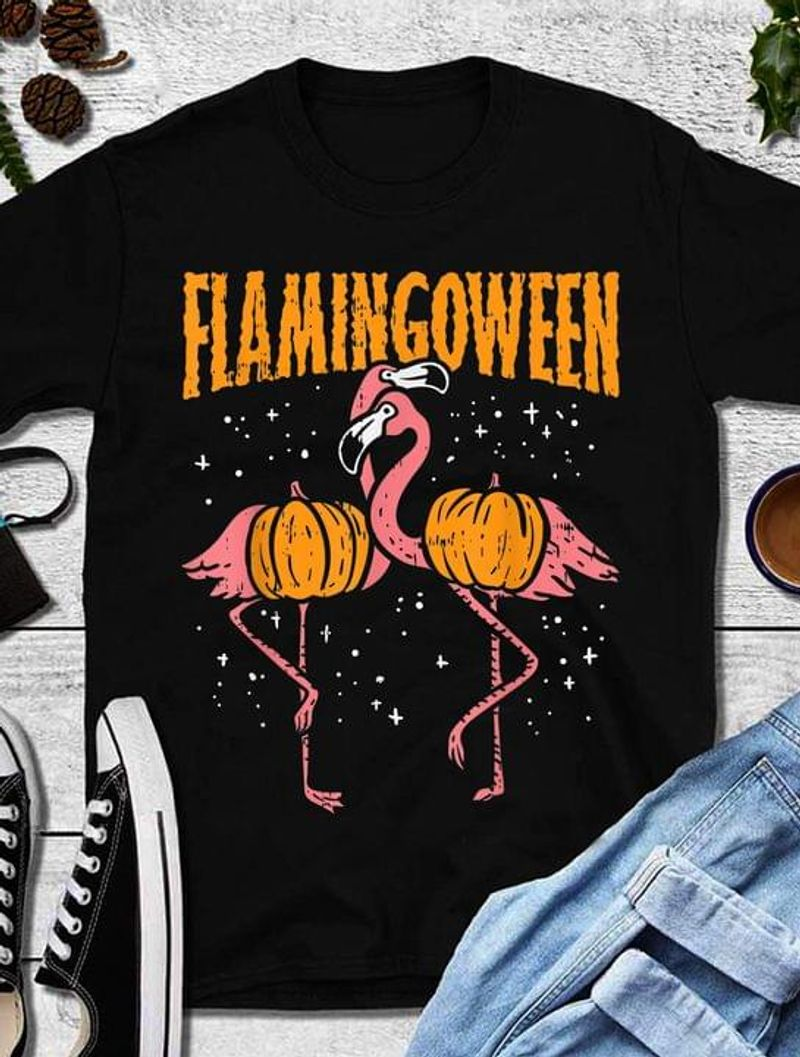 Flamingoween T Shirt Halloween Gift Idea For Flamingo Lovers Black T Shirt Men And Women S-6XL Cotton