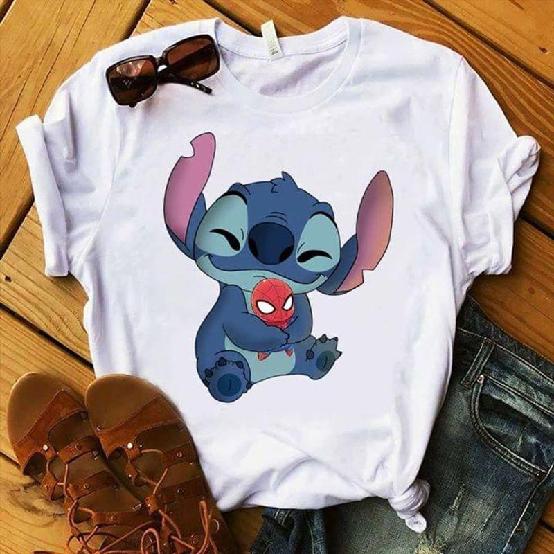 Funny Baby Stitch Hug Baby Spider Man Cartoon Lover Marvel Fan Gift White T Shirt Men And Women S-6XL Cotton