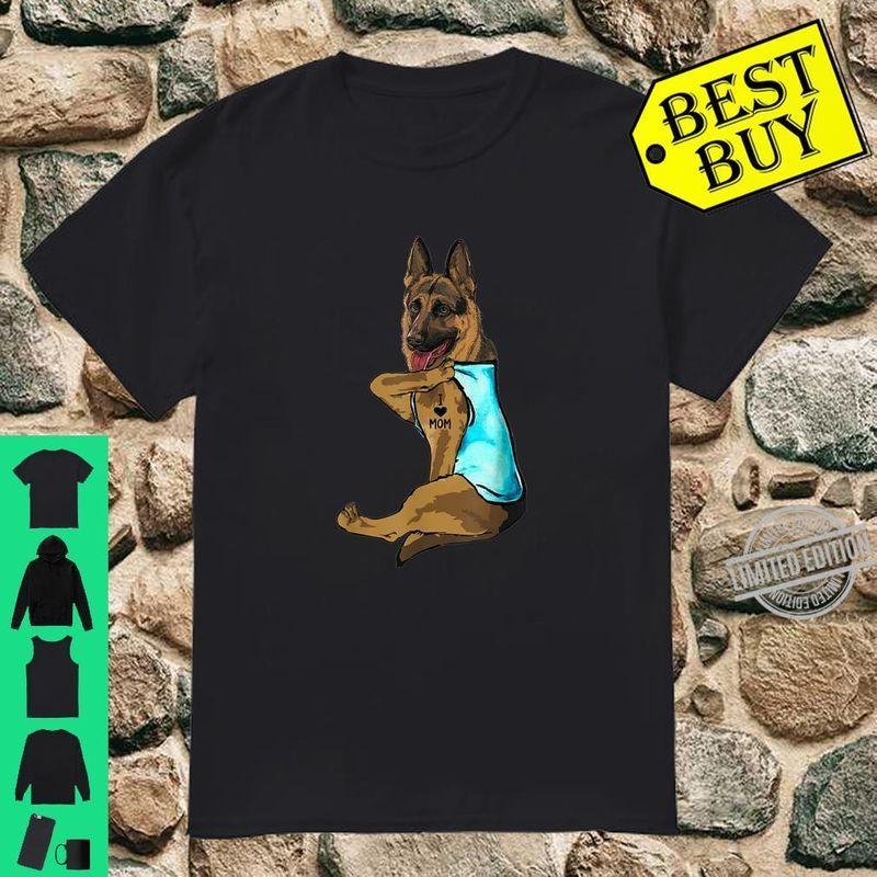 Funny German Shepherd Dog I Love Mom Tattoo Shirt