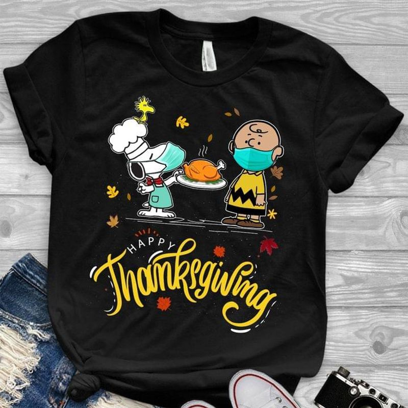 Funny Snoopy  And Charlie Brown Happy Thanksgiving Quarantine 2020 Black T Shirt Men And Women S-6XL Cotton