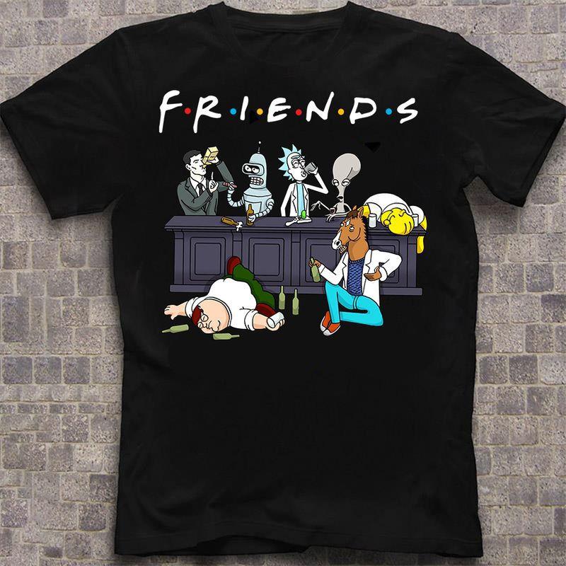 Futurama The Simpson Family Guy Bojack Horseman T-shirt Black
