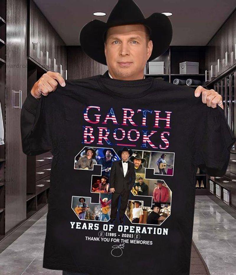 Garth Brooks 35 Years Of Operation Anniversary T-Shirt Garth Brooks Signature Black T Shirt Men And Women S-6XL Cotton