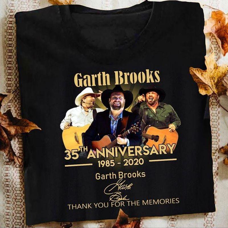 Garth Brooks Music Lover 35th Anniversary Signature Black T Shirt Men And Women S-6XL Cotton