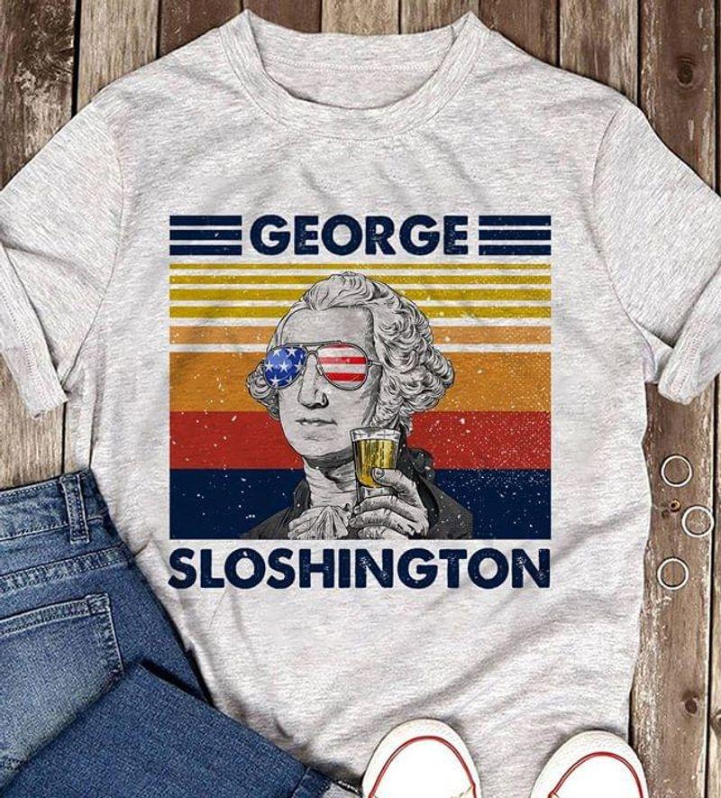 George Slothington Us Flag Glasses Drinking Wine Funny Vintage Sport Grey T Shirt Men And Women S-6XL Cotton