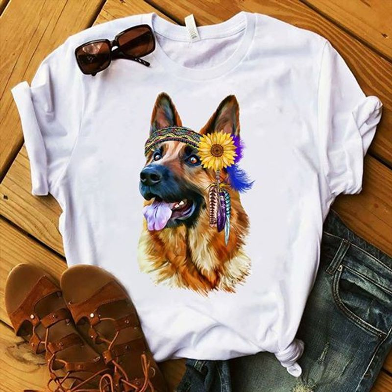German Shepherd Dream Catcher T-shirt White A5