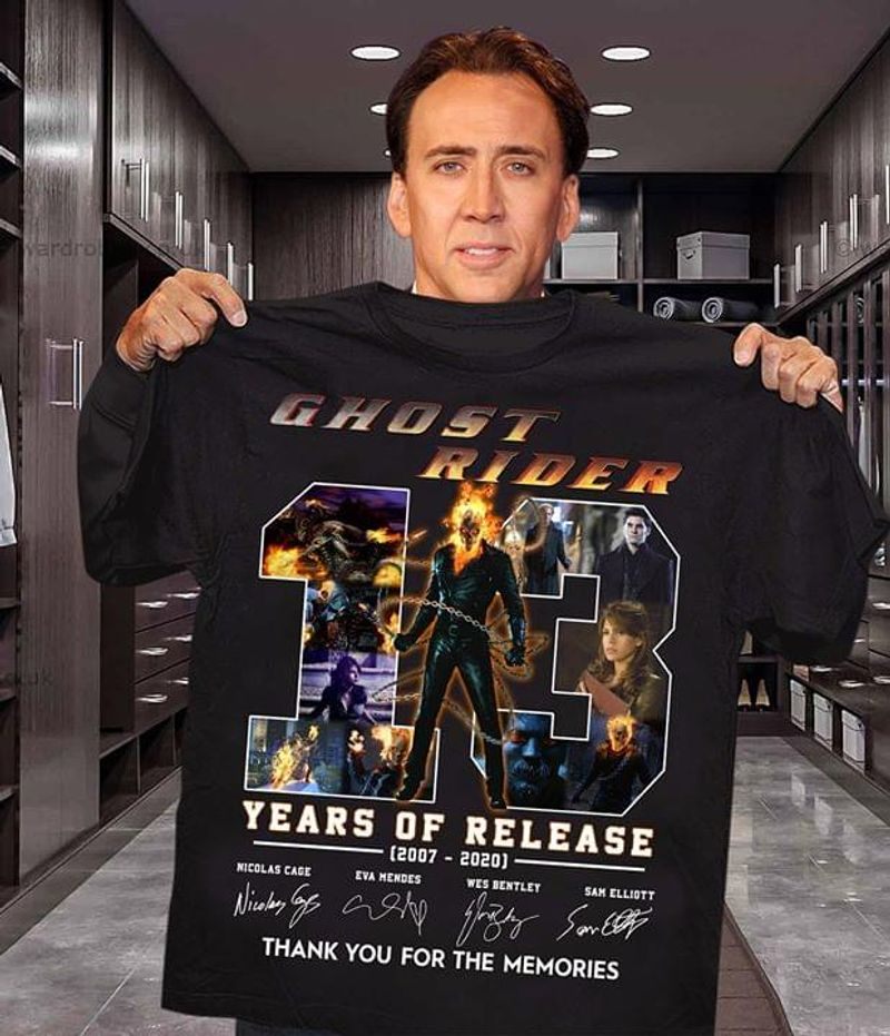 Ghost Rider Fans 13 Years Of Release Thank You For The Memories Signature Black T Shirt Men And Women S-6XL Cotton
