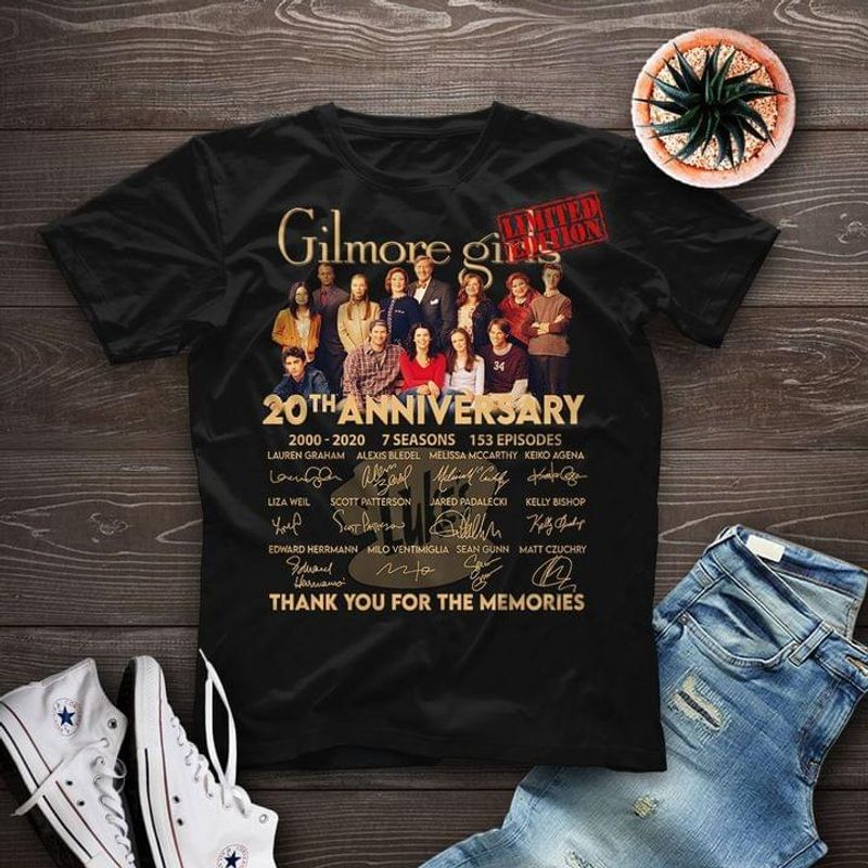 Gilmore Girls 20th Anniversary Movie Character Signed Thank Memories Fans Gift Black T Shirt Men And Women S-6XL Cotton