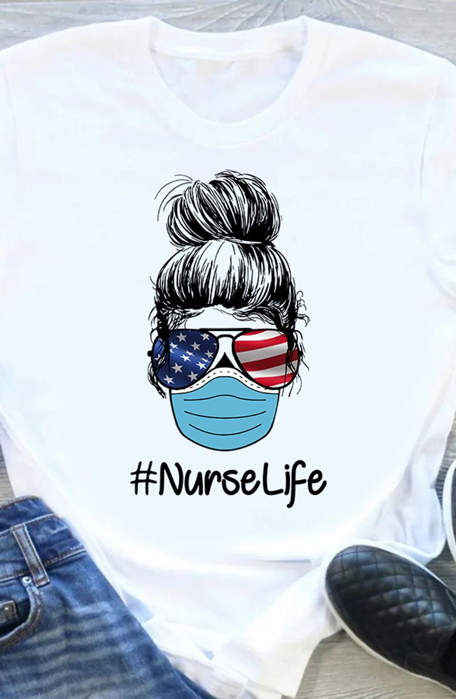 Girl Glass Usa Flag Nurse Life T Shirt White A5
